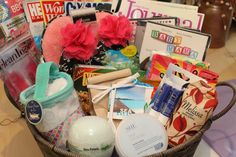 Hospital Bedrest Gift Basket for Melissa who's carrying triplets! Includes... Magazines Slippers Movies (BodyGuard/Sixteen Candles/Baby Mama) Cooling Eye gel Mask Hair Towel Bath Bomb Body Butter Chapstick Face Mask Twizzlers Protein Bars Melissa Bag Swedish Berries/Caramels Chocolate Bath Powder Natural Fruit Berries