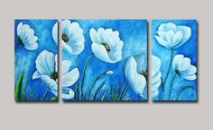 cuadro al oleo triptico flores celestes - medida: 120x60x3cm Three Canvas Painting, Acrylic Painting Flowers, Watercolor Paintings, Triptych Wall Art, Canvas Wall Art, Floral Artwork, Panel Art, Arte Floral, Flower Art