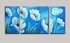 cuadro al oleo triptico flores celestes - medida: 120x60x3cm