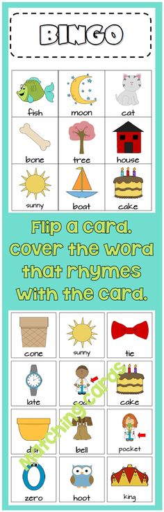 Rhyme Bingo - Flip a card from the pile. If the bingo card has its matching rhyme, cover it. 8 bingo cards and 48 rhyme cards (24 pairs). ($)