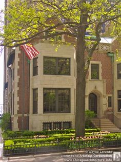 1451 North Astor Street, Gold Coast, Chicago IL. Brick collegiate style neo Gothic revival townhouse completed in 1910