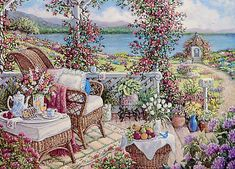 Janet Kruskamp's Paintings - Breakfast on the Veranda, a painting of a colorful setting for breakfast amidst the purples, reds, yellows and blues of all the flowers and vines surrounding the sumptuous repast on the wicker table next to the wicker chair and atop a small wicker basket on the ground on the veranda. One of the Gardens and Florals Gallery of Original Oil Paintings and  Personally Enhanced Giclees  signed by Janet Kruskamp