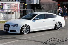 https://flic.kr/p/qSfE9j | White Audi A5 Sportback on Vossen wheels | Woerthersee Tour GTI Treffen 2014 - www.woertherseepics.com/