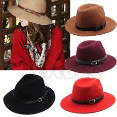 95b31bf955462 Details about Vogue Women Wool Belt Fedora Trilby Cap Warm Winter Wide Brim  Design Cowboy Hat