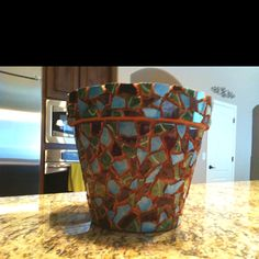 Mosaic pot, before grout