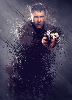 Movie And Tv Splatter Effect Artwork Movies poster prints by Stewart Wood Rick Deckard, Cinema Movies, Sci Fi Movies, Movie Tv, Harrison Ford, The Best Films, Great Movies, Blade Runner 1, Fictional Languages
