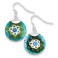 Sterling Silver Multicolored Glass Polished Circle Dangle Earrings