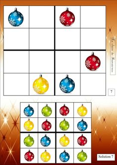 sudoku de noël 8 grilles différentes Christmas Math, Preschool Christmas, Christmas Activities, Christmas Themes, Christmas Crafts, Holiday Decor, Advent, Theme Noel, Preschool Worksheets
