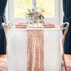 Rose Gold Sequin Table Runner Sparkly Mauve Pink Sequin Runner for Wedding Party, Dinner Reception, Gift, Event, Bridal Shower, 1 DAY SHIP by All4partytime on Etsy https://www.etsy.com/listing/212759406/rose-gold-sequin-table-runner-sparkly