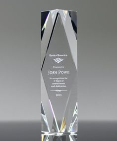 Traditional Crystal Tower Award | Trophies | Corporate Awards | Recognition Plaques | edco.com