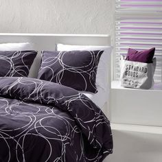 FINN Bed linen. Violet. 100% Egyptian cotton, Duvet cover, Quilt cover with pillow case.: Amazon.co.uk: Kitchen & Home