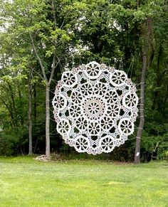 abigail doan: Lace Revival by Jennifer Cecere 'Rose Window' by Jennifer Cecere (Socrates Sculpture Park, 2009) Cecere exhibited one of her site-specific doilies in Socrates Sculpture Park's 'State Fair' exhibition last summer, and this occasion marked the beginning of a new series of public works where Cecere has expanded on the mapping qualities of the doily template as a ready-made overlay for organic design in both urban and rural settings.