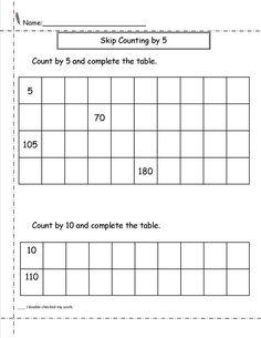 skip count by 5 worksheet elementary