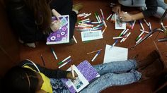 The Armstrong Tigers working on their bookmarks