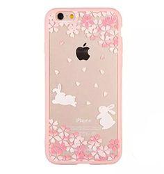 (ビナノ)Benanoiphone6Sケースカバー iphone6 ケース 可愛い兎 ネコ 美しい桜 ピンクロマンチック アイフォン6S対応 ソフトクリアケース 耐衝撃 キズ防止 脱着簡単(ウサギ)