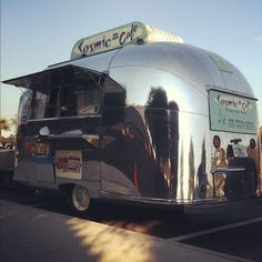 Cosmic Cafe Airstream in Cocoa Beach, FL.  This is the most AMAZING mobile coffee machine powered by the most amazing barista - <3 Jason!