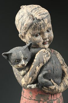 """""""Little Dancer With Cat"""" x x deep Clay, glaze Little Dancer With Cat detail Ceramic Sculpture Figurative, Clay Art Projects, Art Populaire, Wooden Statues, Cat Statue, Photo Chat, Ceramic Figures, Paperclay, Creepy Dolls"""