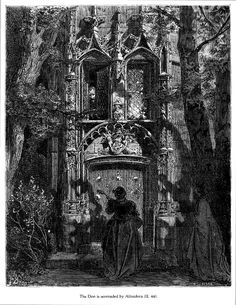 """Gustave Doré - """"Altisidora le canta un romance a Don Quijote"""" (Don Quijote, tomo 2, capítulo 44) [1863]. Grabado."""