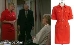 Kayla Brady's Red Zip-Front Shirtdress - Days of Our Lives, Season 50, Episode 260, 09/30/15, Mary Beth Evans, #Days Fashion, Worn on #DaysofOurLives