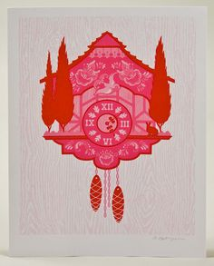 Cuckoo Clock red / 9x12 screenprint by theSIBLINGshop on Etsy, $15.00