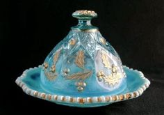 Northwood Glass Co. Blue Opalescent Paneled Holly Butter Dish