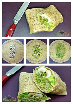 Easy Hummus Wrap with Avocado, Mushrooms and Clover Sprouts | Choose To Cook