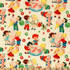 Michael Miller Retro Candy Shop Cream from @fabricdotcom  From Michael Miller this cotton print fabric features playful children.  Colors include cream, green,yellow, peach, orange, red and brown.   Use fabric for quilts, home décor accents, craft projects and apparel.
