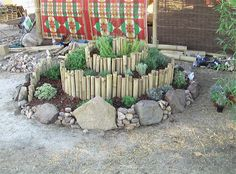 Bamboo edged herb spiral, big and small rocks edging the outside. Backyard Patio Designs, Backyard Projects, Backyard Ideas, Permaculture Design, Permaculture Garden, Herb Spiral, Garden Art, Garden Ideas, Herb Garden