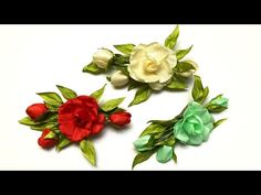 Fabric Flowers, Floral Wreath, Ribbon, Handmade, Crafts, Youtube, Decor, Fabric Flower Tutorial, Leaves