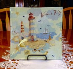 Waters Edge, Light House Design Glass Plate and Wrought Iron Stand,Lighthouse Decor Collectable, Beach Theme Decorative Plate, Cottage Decor by BeverlyJaneCreations on Etsy