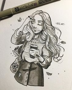 Instagram photo by juditmallolart - #inktober day 10! Our wind witch finds hard to control her powers early in the morning before her first cup of coffee ☕️✨