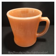 Coffee cup, peach luster, Fire King by Anchor Hocking, D handle by MyKitchenCupboard on Etsy