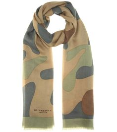 Printed green cashmere scarf