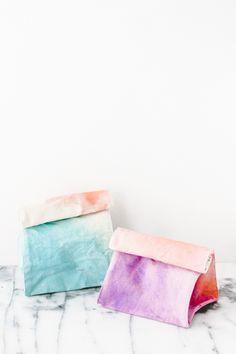 DIY Watercolor Lunch Bags Tutorial  #DIY #craft #art