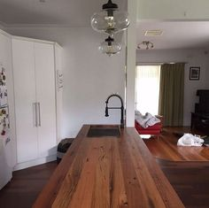 We custom-make recycled timber benchtops for your new kitchen, bar, cafe or restaurant. Our recycled timber benchtops are finished with a natural hard wax oil for a clean, satin-matt finish. This finish is extremely tough and hard-wearing; water-repellent and dirt-resistant. Our finish is natural and based on vegetable oils and waxes so you can be sure that our benchtops are food-safe and non-toxic.  Need a sink or stove cut-out? Easy. Send us an email with your specifications for a quote…