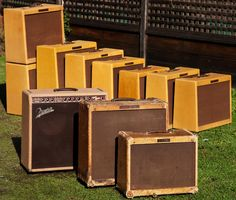 Larry Cragg has a lot of amps. The Fender Deluxe in the front has been used by Neil Young as a backup to his main Deluxe. The second amp (a Bassman) was Paul Butterfield's.