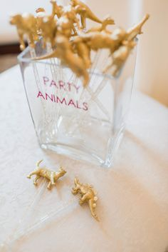 Gold Party Animal Cocktail Swizzle Sticks   Stephanie Dee Photography https://www.theknot.com/marketplace/stephanie-dee-photography-alexandria-va-647681   Soirees and Bouquets