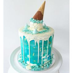 My Dream cake!!! Amazing creation by Lottie and Belle. Blue drip ice cream cake.