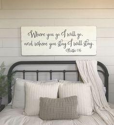 "Bedroom wall decor | Where you go I will go | wood signs | bedroom sign | master bedroom wall decor | 48"" x 18.5"""