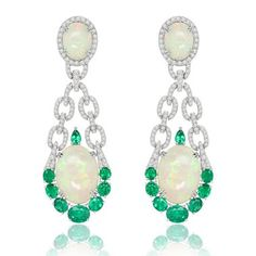 Sutra Welo opal, emerald and diamond earrings