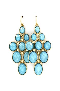 Sky Blue Shimmer Chandelier Earrings on Emma Stine Limited