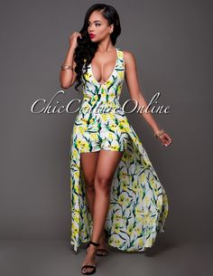 Chic Couture Online - Khalil White Yellow Green Floral Print Romper Maxi Dress.(http://www.chiccoutureonline.com/khalil-white-yellow-green-floral-print-romper-maxi-dress/)