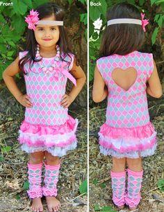 Pink Gray Lattice Ruffle Dress