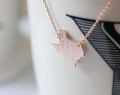 Rose Gold Texas State Necklace TX Rose gold necklace by MissDiary #texas #state #necklace