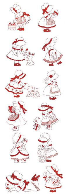 Easter Sunbonnet Redwork design set is available for instant download at www.designsbyjuju.com