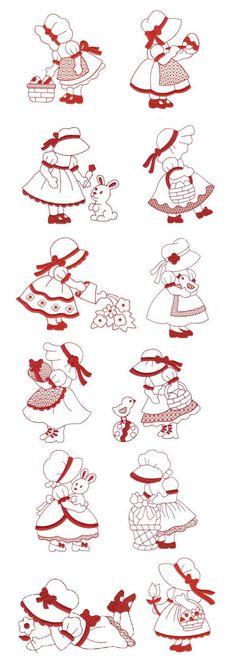 Easter Sunbonnet Redwork design set is available for instant download at www.designsbyjuju.com