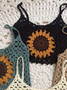 Sunflower crochet top size M 38 Crochet Shirt, Crochet Crop Top, Cute Crochet, Crochet Crafts, Yarn Crafts, Cotton Crochet, Hand Crochet, Crochet Bikini, Diy Clothing
