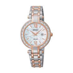 Seiko Solar Silver & Rose Gold Watch w/ 20 Diamonds SUT184 - Seiko... (1,390 SAR) ❤ liked on Polyvore featuring jewelry, watches, silver jewellery, diamond jewelry, slim watches, red gold jewelry and rose gold diamond watches