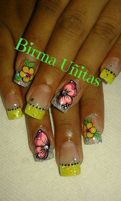 Diy Nails, Cute Nails, Cherry Blossom Nails, Fingernail Designs, Marble Nail Art, Flower Nail Art, Summer Nails, Acrylic Nails, Wax