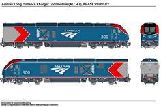 Amtrak ALC-42 Locomotives - Amtrak Media Paper Train, High Speed Rail, Media Images, Locomotive, Long Distance, Charger, Trains, Long Distance Love, Locs